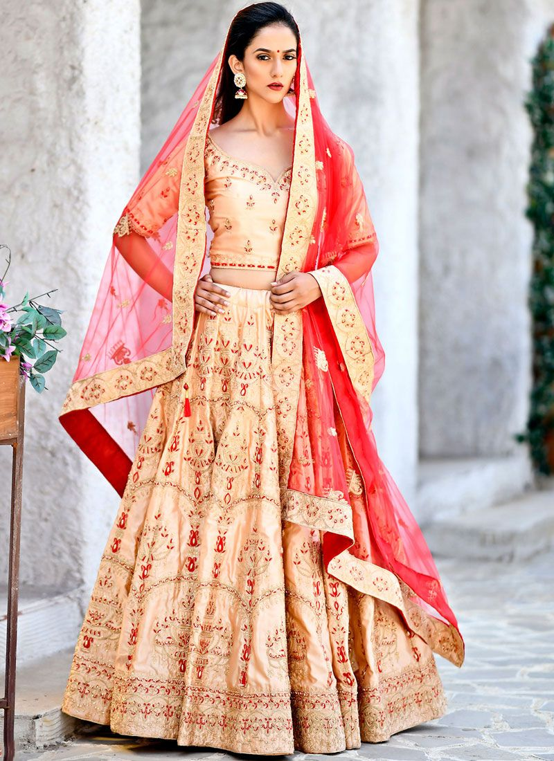 Peach Wedding Lehenga Choli