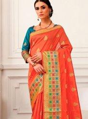 Peach Woven Cotton Silk Traditional Designer Saree