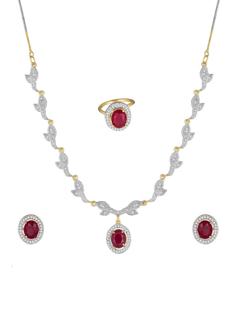 Pendant Set Stone Work in Gold
