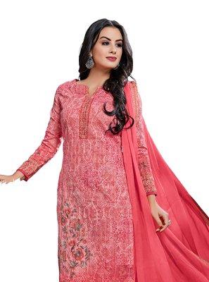 Pink Abstract Print Churidar Designer Suit
