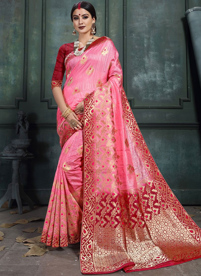 Pink Abstract Print Classic Saree