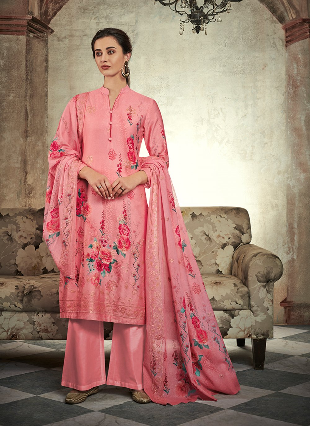 Pink Abstract Print Designer Palazzo Suit