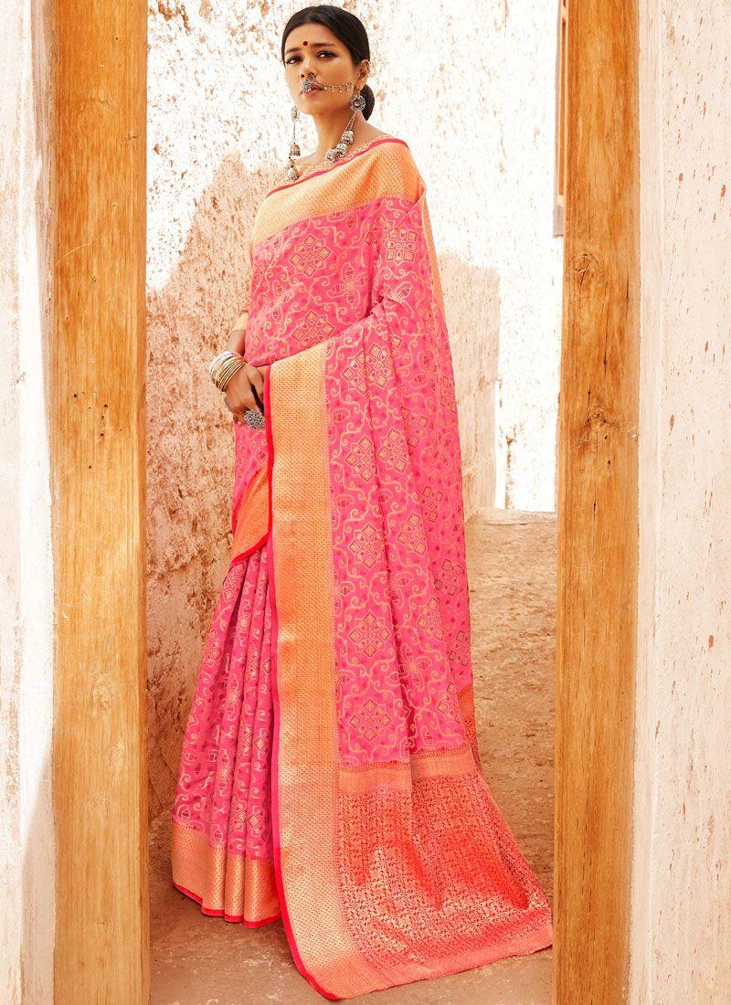Pink Abstract Print Designer Saree