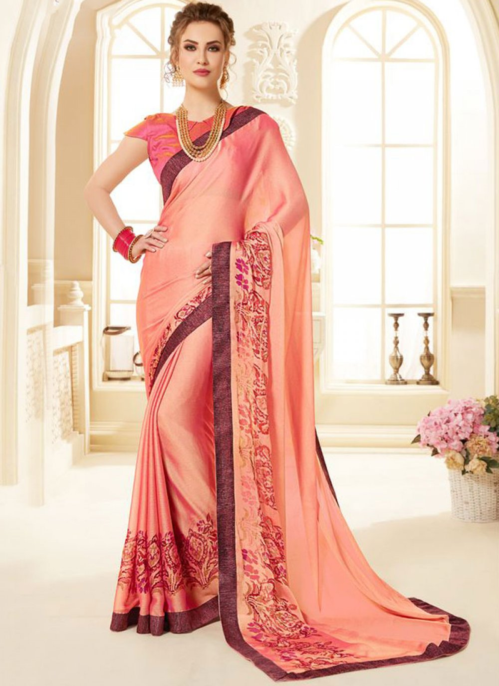 Pink Abstract Print Fancy Fabric Printed Saree