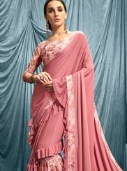Pink Abstract Print Lycra Designer Saree