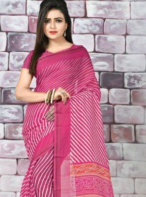 Pink Abstract Print Printed Saree