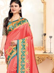 Pink Abstract Print Traditional Designer Saree