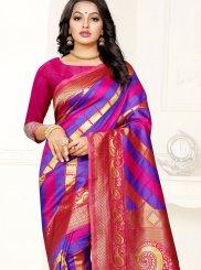 Pink and Purple Banarasi Silk Party Trendy Saree