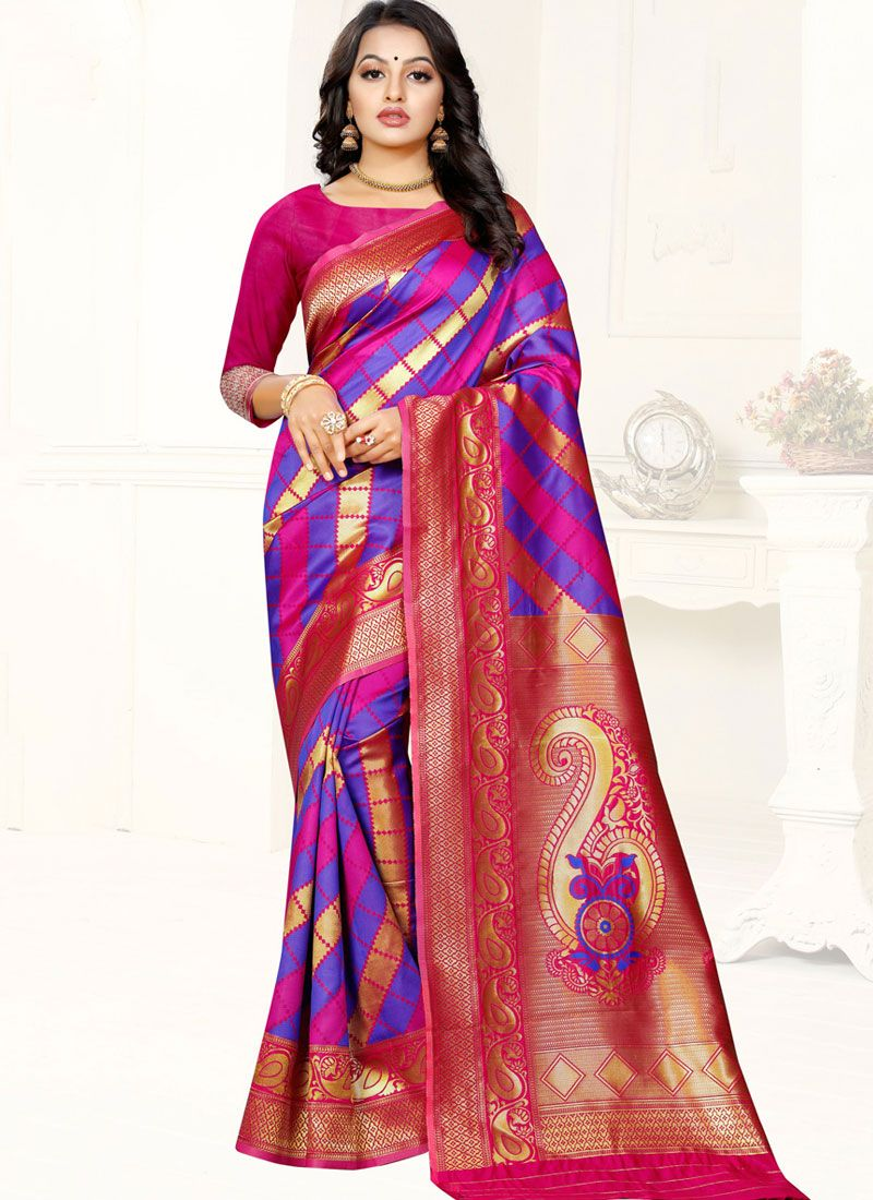 Pink and Purple Banarasi Silk Party Trendy Saree
