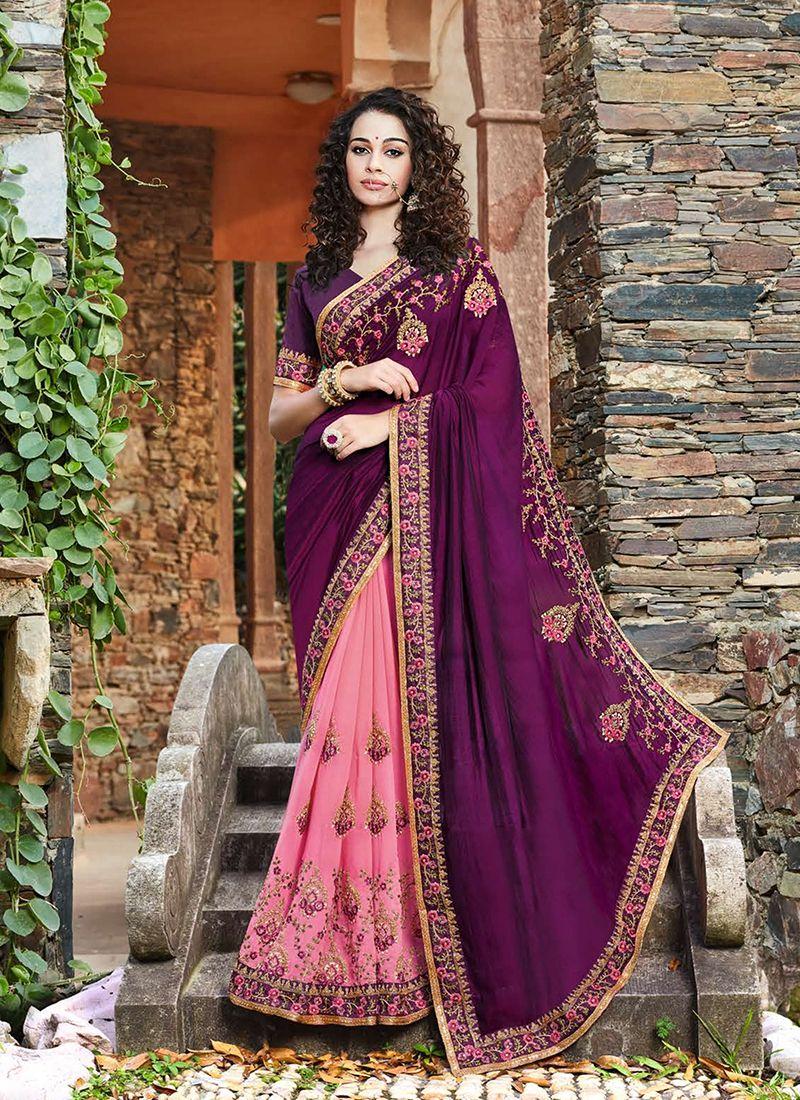 Pink and Purple Designer Half N Half Saree