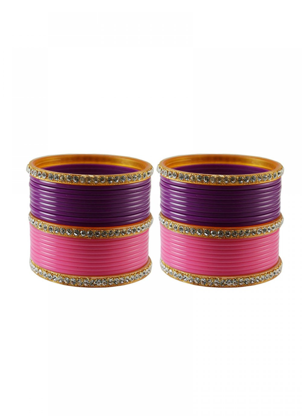 Pink and Purple Stone Work Reception Bangles