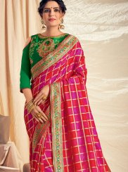 Pink and Red Ceremonial Silk Saree
