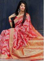 Pink and Red Weaving Banarasi Silk Traditional Saree