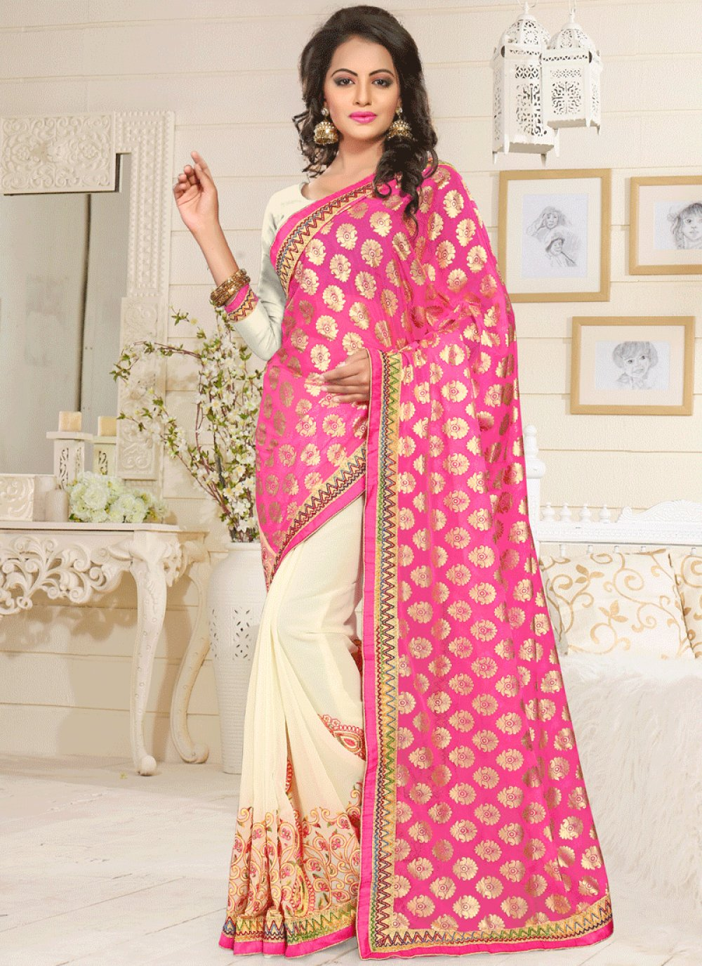 Pink and White Designer Half N Half Saree