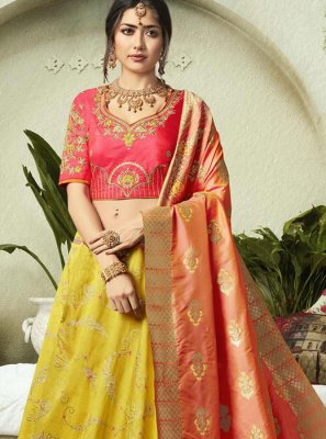 Pink and Yellow Jacquard Silk Lehenga Choli