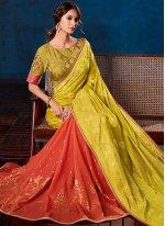 Pink and Yellow Weaving Festival Designer Half N Half Saree