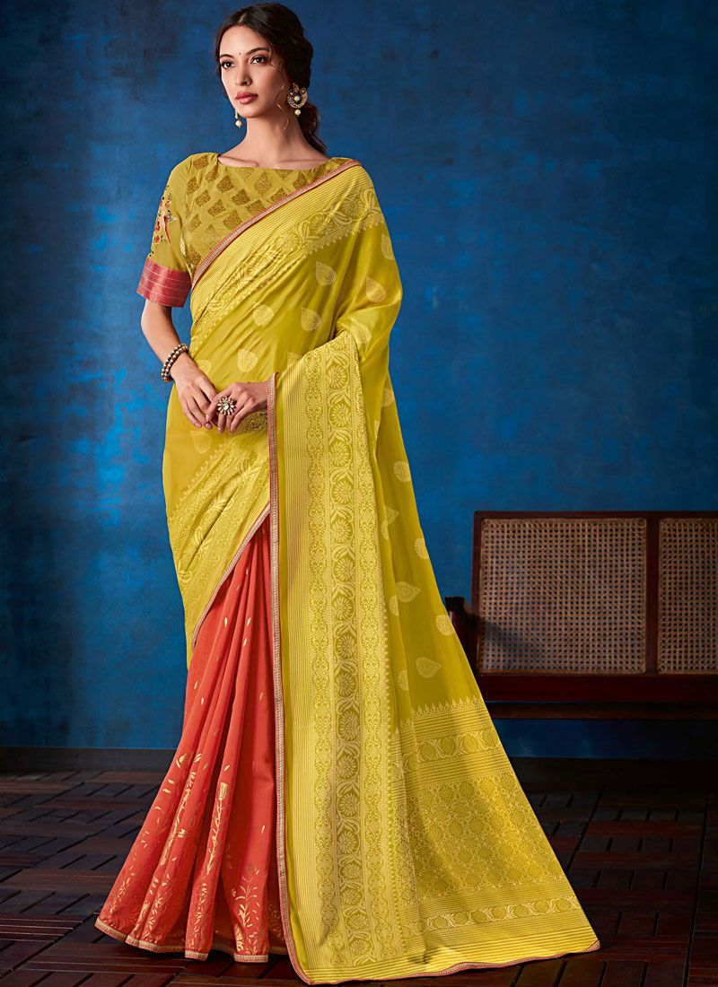 Pink and Yellow Weaving Festival Designer Half N Half Saree