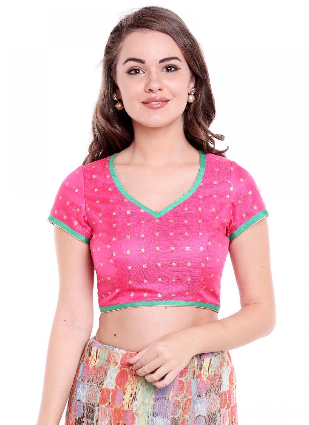 Pink Art Banarasi Silk Party Designer Blouse