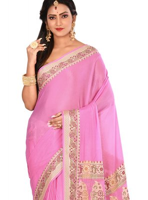 Pink Art Banarasi Silk Weaving Designer Traditional Saree