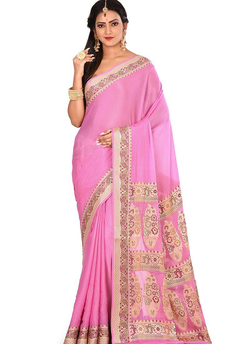 Pink Art Banarasi Silk Weaving Designer Traditional Saree