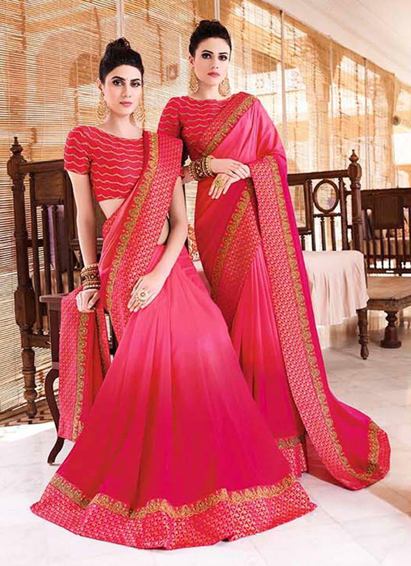 Pink Art Silk Border Trendy Saree