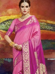 Pink Art Silk Ceremonial Classic Saree