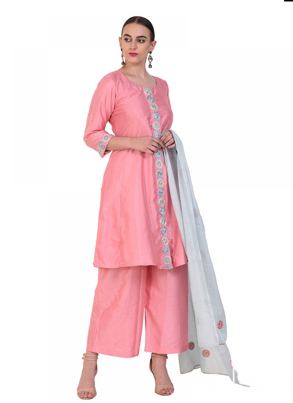 Pink Art Silk Designer Suit