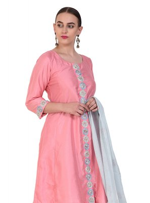 Pink Art Silk Designer Suit