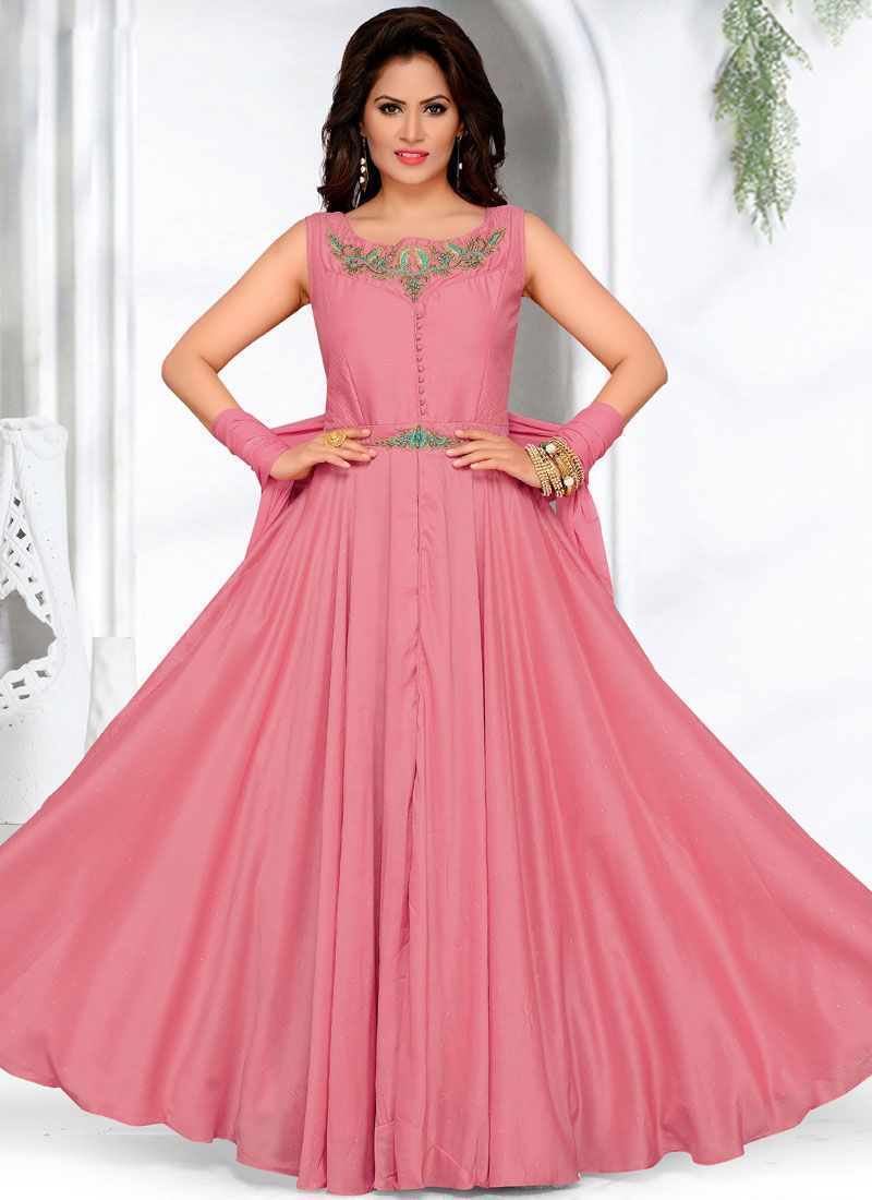Pink Art Silk Embroidered Readymade Anarkali Suit