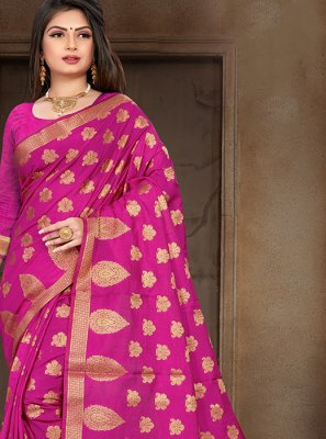 Pink Art Silk Party Designer Traditional Saree
