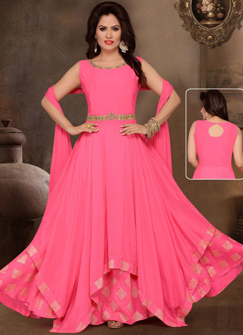 Pink Art Silk Readymade Anarkali Suit