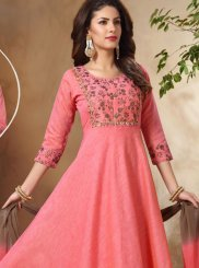Pink Art Silk Readymade Suit