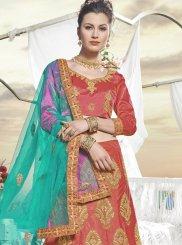 Pink Art Silk Resham Lehenga Choli