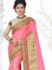 Pink Art Silk Sangeet Designer Traditional Saree