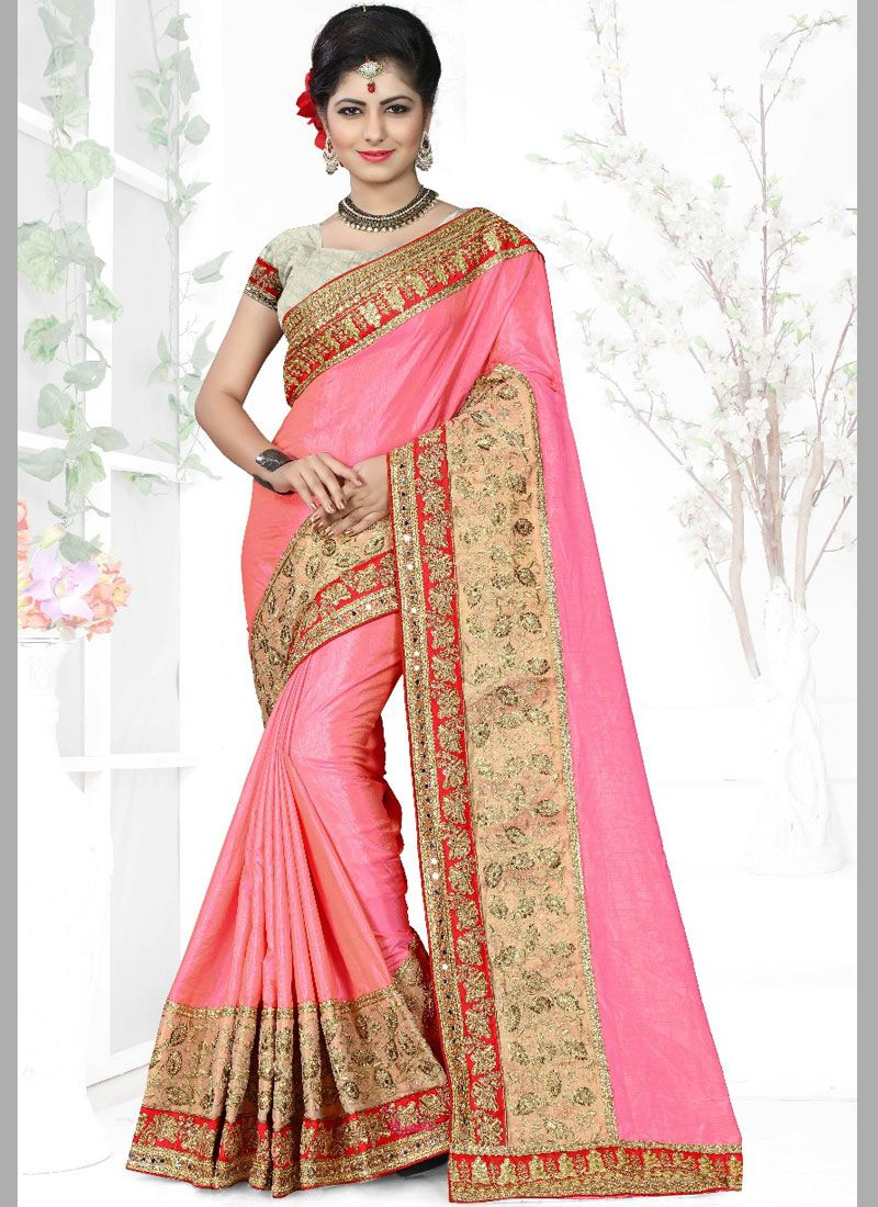 Pink Art Silk Sangeet Designer Traditional Saree