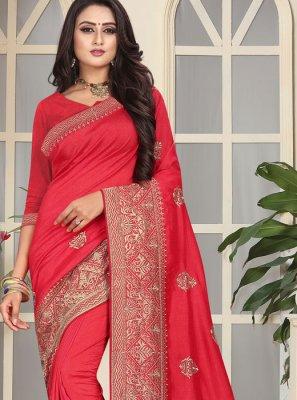 Pink Art Silk Traditional Designer Saree
