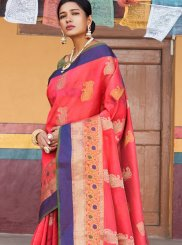 Pink Art Silk Weaving Designer Traditional Saree