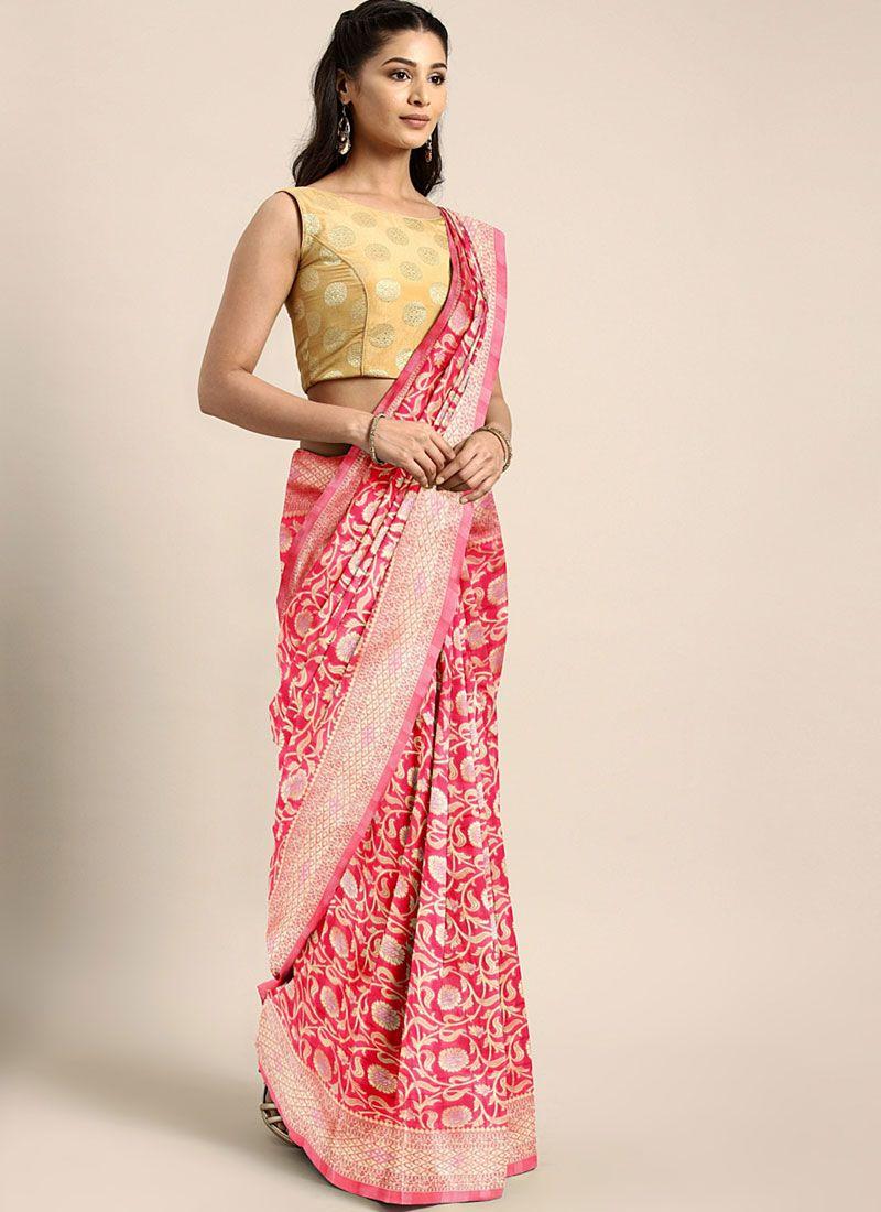 Pink Art Silk Weaving Trendy Saree