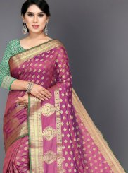 Pink Art Silk Woven Designer Traditional Saree