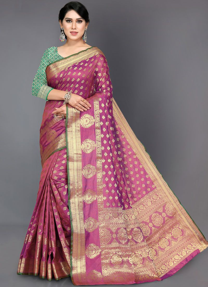 Pink Art Silk Woven Designer Traditional Saree