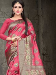 Pink Art Silk Woven Traditional Saree