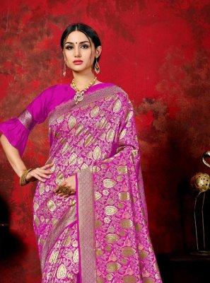 Pink Banarasi Silk Ceremonial Classic Saree