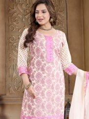 Pink Banarasi Silk Churidar Designer Suit