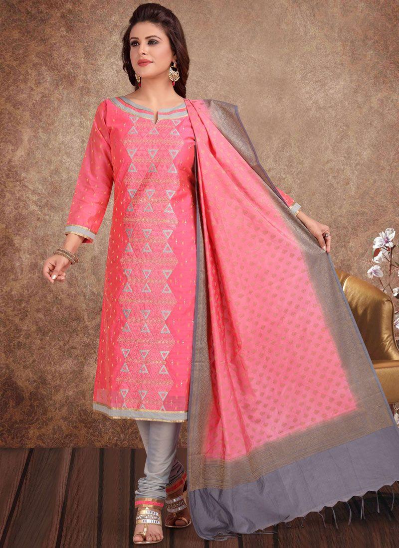Pink Banarasi Silk Festival Churidar Salwar Kameez