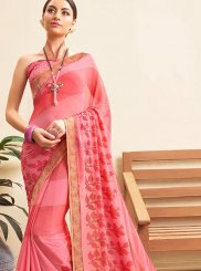 Pink Casual Printed Saree