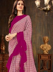 Pink Casual Silk Silk Saree