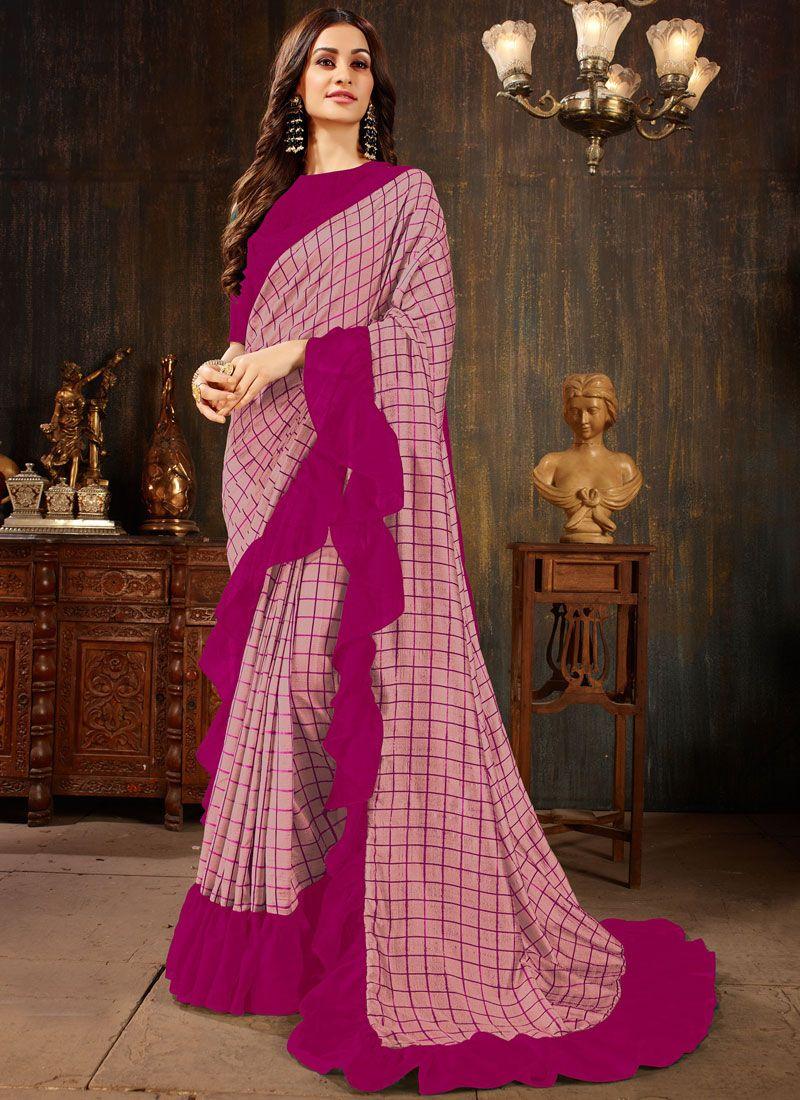 Pink Casual Silk Silk Saree