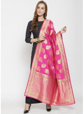 Pink Ceremonial Art Banarasi Silk Designer Dupatta