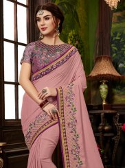 Pink Ceremonial Art Silk Designer Traditional Saree