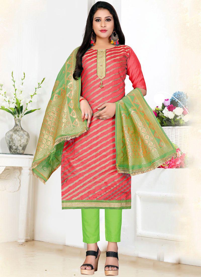 Pink Ceremonial Art Silk Pant Style Suit